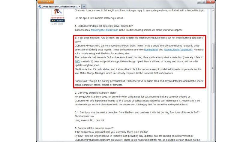 Erklärungsversuche: Der Programmautor erläutert im Forum von CDBurnerXP detailliert, wo der Kern des Problems liegt.