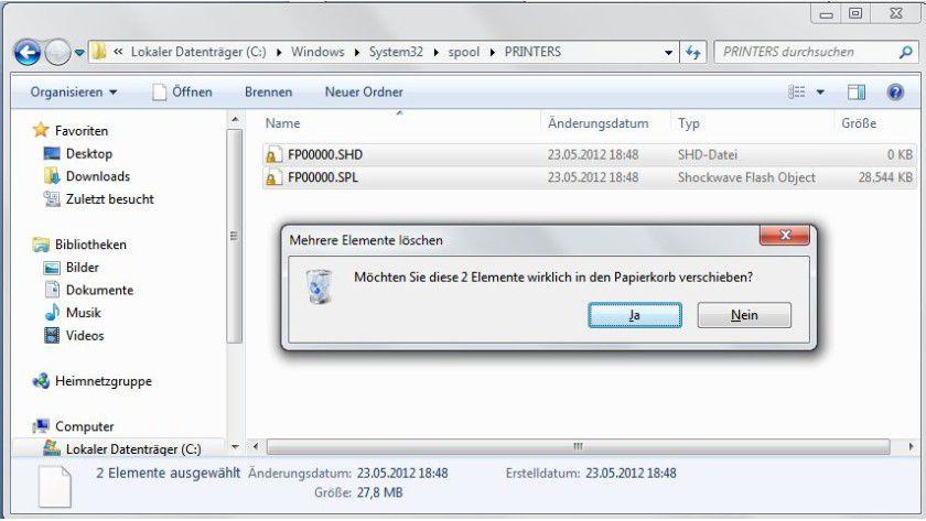 Auf die harte Tour: Die abgestürzten Druckjobs lassen sich erst im Windows-Explorer entfernen.