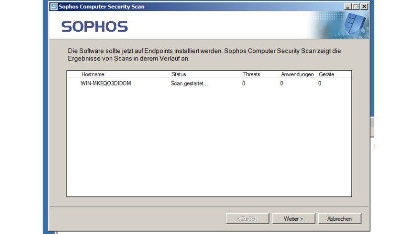 Netzwerk-Scan: das Sophos-Tool in Aktion.