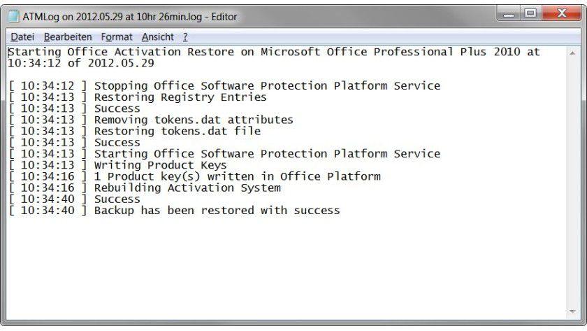 Flink bei der Sache: Das Zurückspielen der Aktivierungsdaten von Office 2010 dauerte im Test weniger als eine Minute.