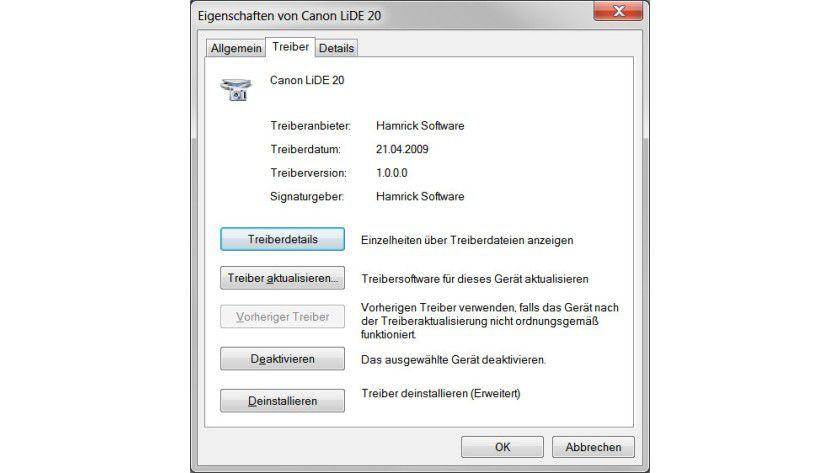 Unterstützung: Mit dem VueScan-Treiber ließ sich im Test ein älterer Canon-Scanner unter Windows 7 (64 Bit) wieder betreiben.