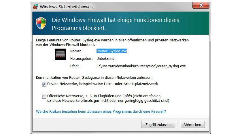 Alarm: Die Windows-Firewall stört sich daran, dass RouterSyslog über das Netzwerk Informationen abfragt.