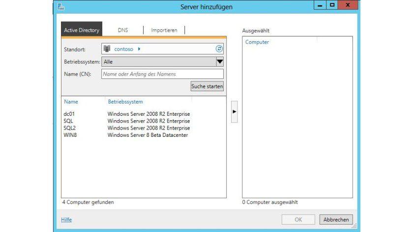Unter Obhut: Mit dem Server-Manager können Sie auch zusätzliche Server verwalten.