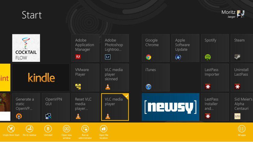 Metro oder nicht: Das kleinere Icon zeigt, dass es sich bei der Anwendung nicht um ein Metro-optimiertes Programm handelt.