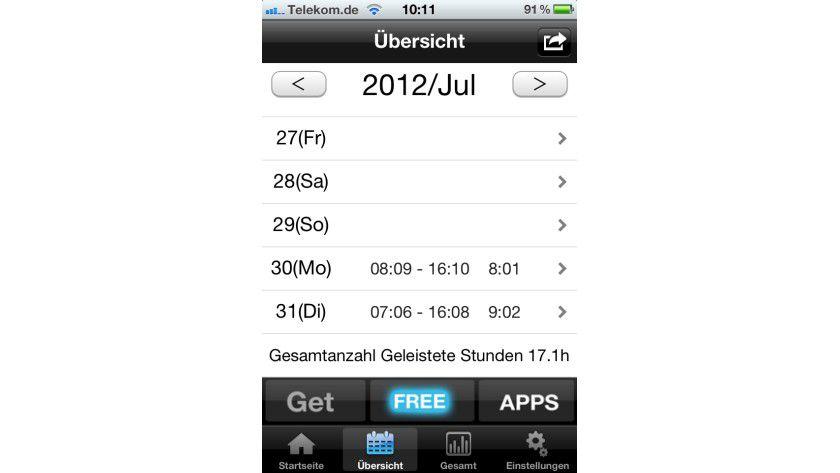Auf einen Blick: Stundenzettel liefert auf einen Klick auch eine Monatsübersicht.