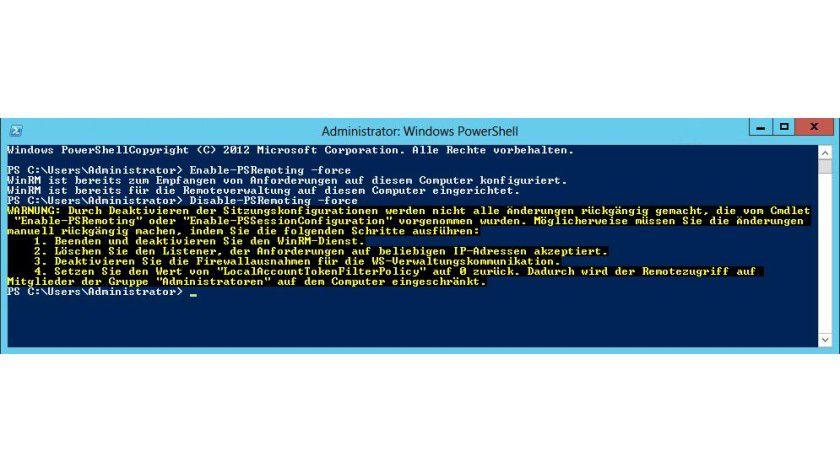 Abschalten: Die Remote-Verwaltung eines Servers über die PowerShell können Sie in der PowerShell auf dem Server aktivieren und deaktivieren.