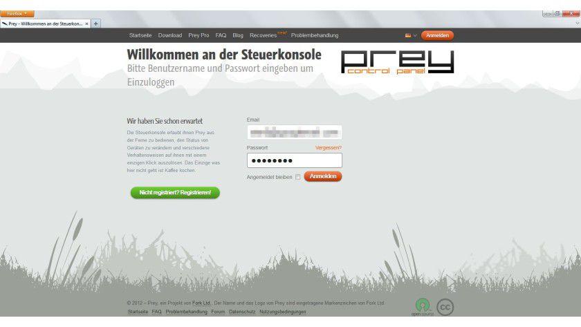 Web-Steuerung: Das Tool lässt sich über das Internet verwalten. Notwendig ist dazu ein kostenloser Account beim Hersteller von Prey.