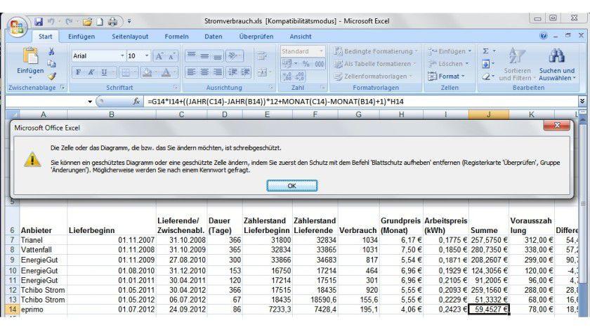 Änderungen unerwünscht: Bei aktiviertem Blattschutz lassen sich die Zellen in Excel ohne Kenntnis des Passworts nicht bearbeiten.