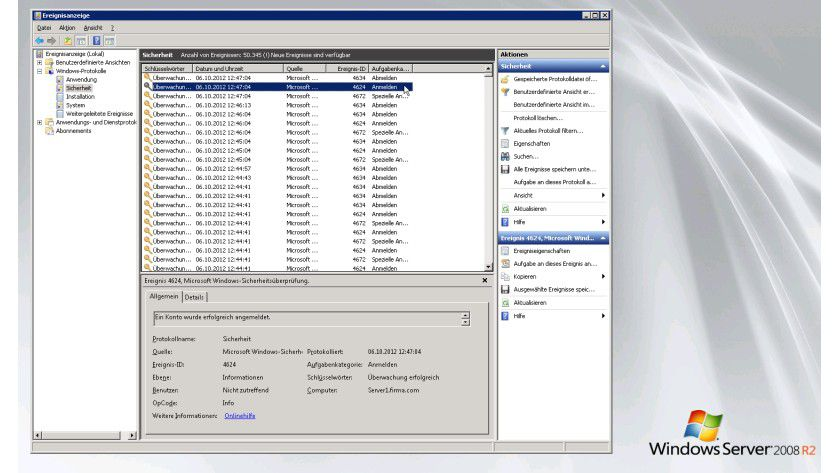 Standardanmeldung an einem Windows-System (hier: einem Windows Server 2008 R2): Im Ereignisprotokoll wird im Bereich Sicherheit ein Ereignis mit der ID 4624 angelegt.