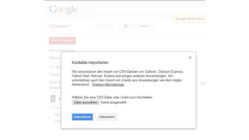 Einlesen: Kontakte lassen sich nach Google Mail importieren.