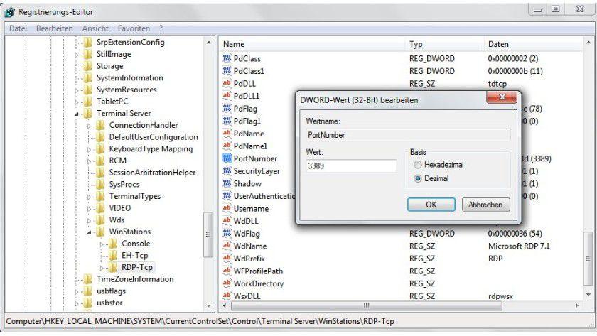 Umstellung: Der Port für eine Remotedesktopverbindung lässt sich manuell in der Registry ändern.