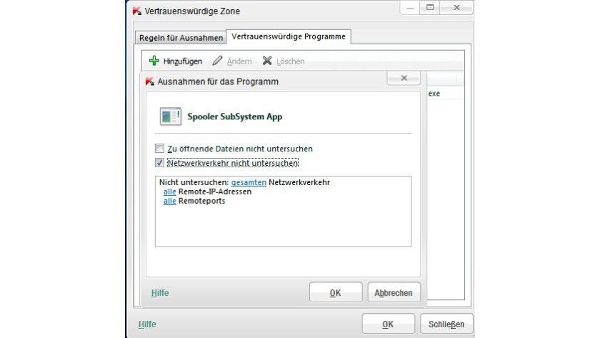 Ausnahmeregelung: Wenn man den über das Spooler-Subsystem von Windows laufenden Traffic von der Virenprüfung ausnimmt, funktioniert der Druck über das LAN wieder.
