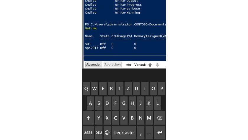 Mobiler Zugriff: Eine gestartete PowerShell-Sitzung über Windows Phone 8 zu Windows Server 2012 mit PowerShell Web Access