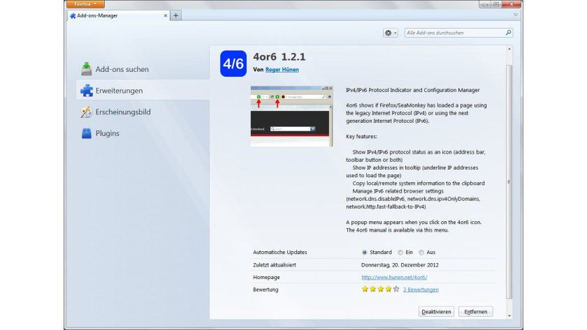 """Selektiv: Das Add-on """"4or6"""" erlaubt es, die Protokollversion IPv6 nur fallweise zu nutzen."""
