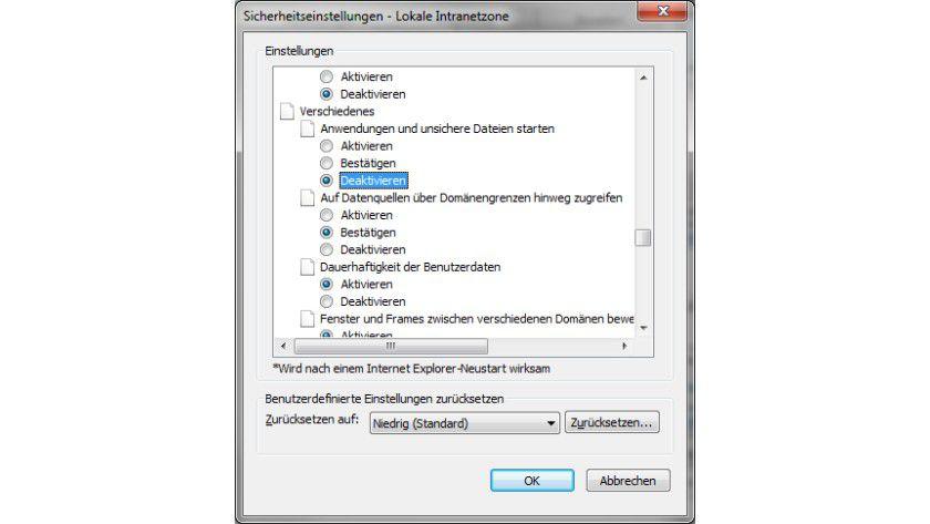 Hilfreich: Hier müssen Sie Einstellungen vornehmen, um unsichere Dateien oder Anwendungen trotzdem starten zu können.