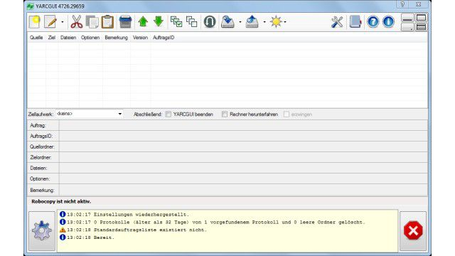 Backup, Synchronisation, Spiegelung: YARCGUI - Gratis