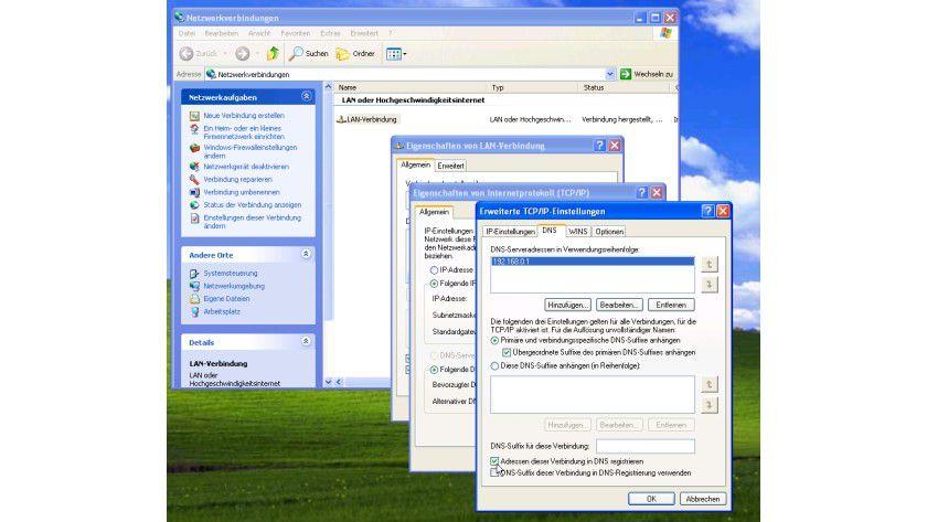 Registratur: Standardmäßig erfolgt die Registrierung der IP-Adressen im DNS, da diese Einstellung - wie hier unter Windows XP zu sehen - ab Werk immer gesetzt ist.