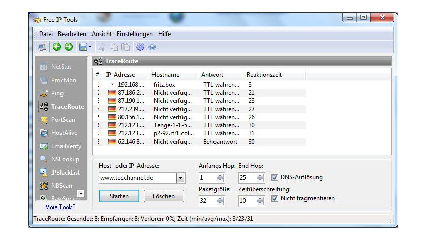 Multitalent: Die Software Free IP Tools bündelt eine Vielzahl von nützlichen Netzwerk-Tools.