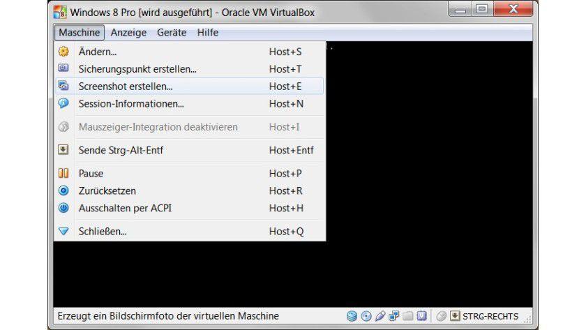 Integriert: In neueren Versionen von VirtualBox lassen sich Screenshots komfortabel über die grafische Oberfläche erzeugen.