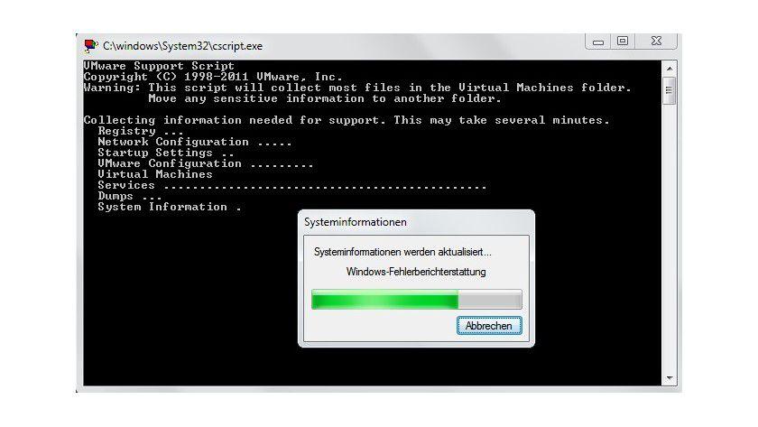 Hilfreich: Support-Skript: Diagnosedaten für virtuelle Maschinen lassen sich mithilfe eines Skripts erfassen, das auch ohne die grafische Benutzeroberfläche funktioniert.