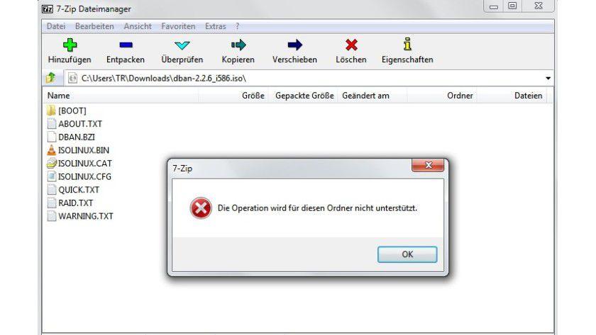 Keine Unterstützung: 7-Zip ist zwar in der Lage, Images zu öffnen, kann einer ISO-Datei aber keine weiteren Daten hinzufügen.