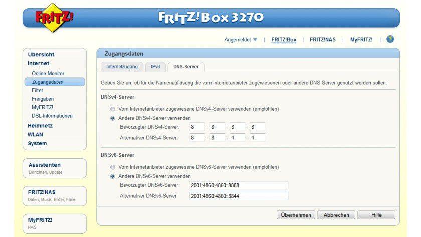 Zentraler Wechsel: In der Fritzbox kann der Nutzer andere als die vom Internetanbieter zugewiesenen DNS-Server festlegen. So entfällt die Umstellung an jedem einzelnen Netzwerk-PC.