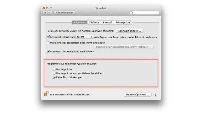 """Die Sicherheits-Funktion """"GateKeeper"""" (seit OS X Mountain Lion und Lion 10.7.5 integriert) ist in den Systemeinstellungen unter dem Punkt """"Sicherheit"""" versteckt. Die drei wählbaren Punkte erlauben eine granulare Einstellung der zugelassen Quellen, die der Anwender nutzen darf."""