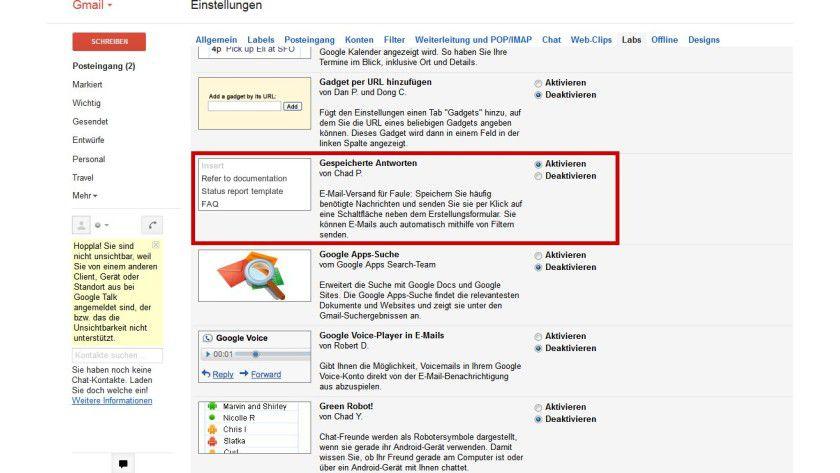 """Experimenteller Betrieb: Textbausteine lassen sich in Gmail über die Funktion """"Gespeicherte Antworten"""" nutzen, die im Bereich """"Labs"""" erreichbar ist."""