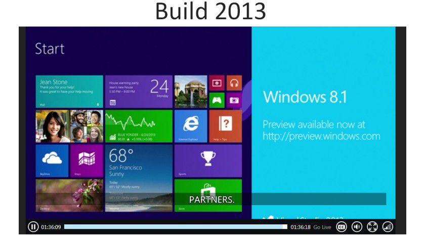 Vorabversion: Anlässlich der Entwicklermesse Build hat Microsoft Windows 8.1 Preview zum Download freigegeben.