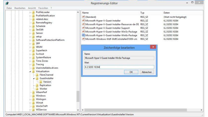 Versionssuche: Die auf dem Hyper-V-Host vorhandene Version der Integrationsdienste lässt sich in der Registry ermitteln.