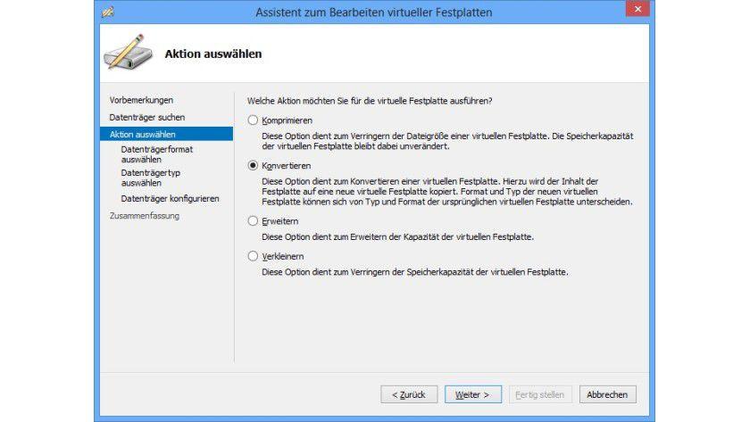 Umwandlung: Ist eine VHD-Datei beschädigt, hilft oft, sie in einen dynamischen Datenträger zu konvertieren und diesen dem virtuellen PC zuzuweisen.