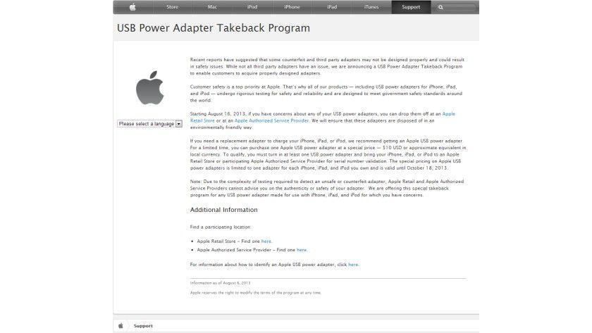 Sicherheitsbedenken: Apple tauscht Ladegeräte anderer Hersteller ein und bietet Original-Ladegerät zum Vorzugspreis.