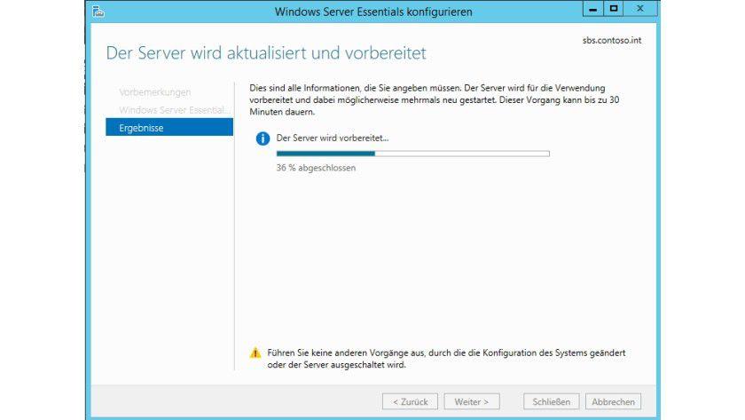 Der nächste Schritt: Nach der Installation der Windows-Server-Essentials-Umgebung als Serverdienst richten Sie den Server ein.