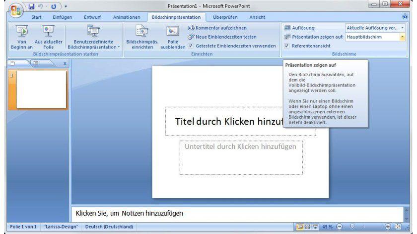 Referentenansicht: Bei mehreren Monitoren lässt sich in Powerpoint festlegen, wo die zusätzlichen Informationen für den Vortragenden angezeigt werden.