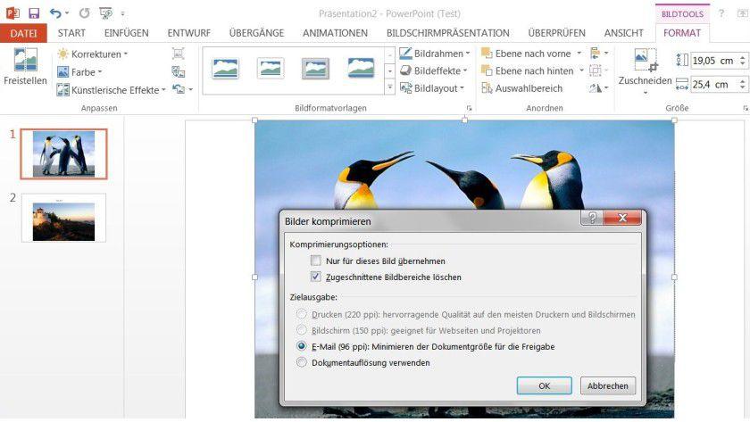 Reduzierte Datenmenge: Speicherplatz lässt sich in Powerpoint sparen, indem Sie die Bilder in einer Präsentation komprimieren. Das geht auch in einem einzigen Arbeitsgang.
