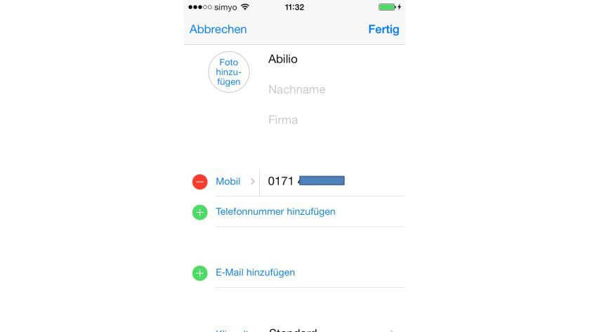 Unterwegs: Sie können Kontakte auch direkt auf dem iPhone bearbeiten.