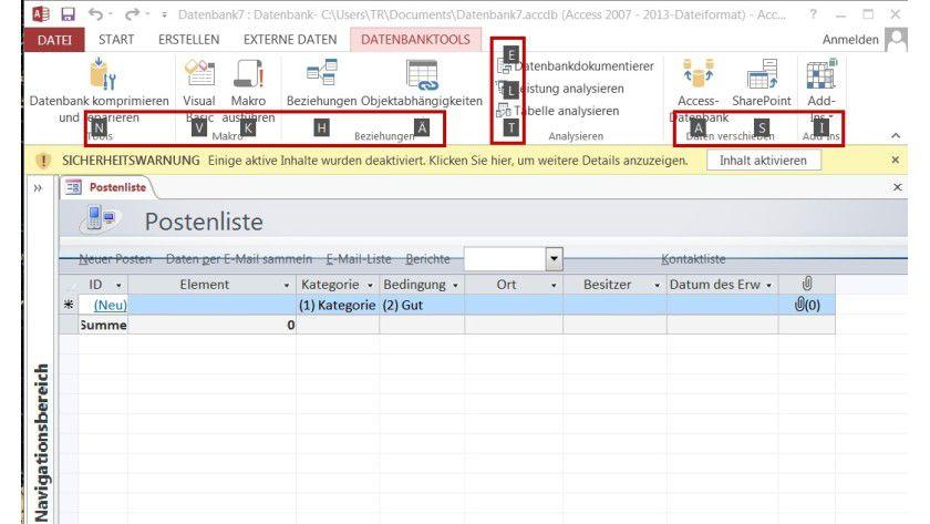 Shortcuts: Wenn Sie in Access die Alt-Taste drücken, erscheinen Zugriffstasteninfos (rot hervorgehoben), um per Tastatur zu navigieren.