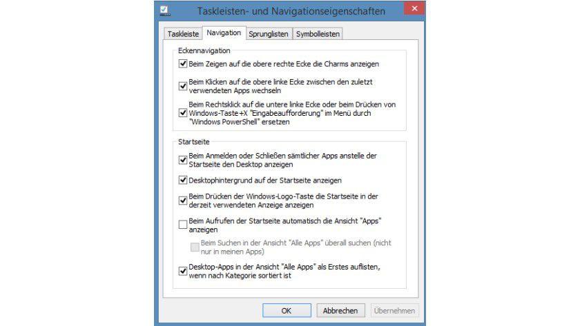 Startbedingungen: Auf der neuen Registerkarte Navigation können Sie zahlreiche Einstellungen für Windows 8.1 vornehmen.