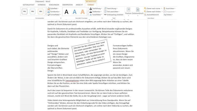 Beweglich: Textfelder lassen sich ab Word 2010 nach Belieben gradgenau drehen. Der Anfasser, in Word 2013 ein gebogener Pfeil, dient als Rotationspunkt.