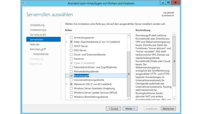 Voraussetzung: In Windows Server 2012 und Windows Server 2012 R2 installieren Sie für den VPN-Zugriff die Serverrolle Remotezugriff. Während der Installation wählen Sie aus, ob Sie die Rollendienste DirectAccess oder VPN installieren wollen.