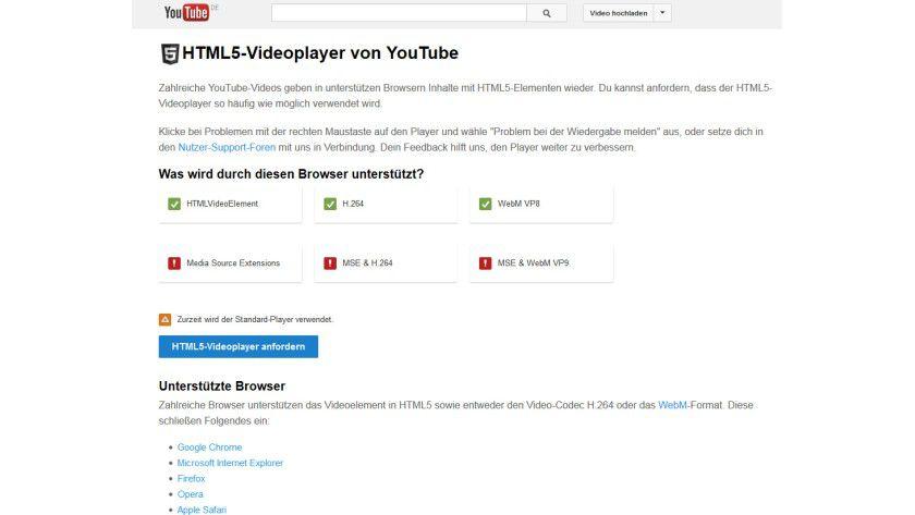 """Bye-bye Flash: Im Bereich """"TestTube"""" lässt sich der HTML5-Player im Probebetrieb bereits nutzen."""