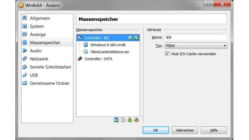 IDE statt SATA: Bei Problemen mit Windows-Gastsystemen, die Sie aus VMware übernommen haben, hilft oft, die Festplatte nicht an den SATA-, sondern an den IDE-Controller anzuschließen.