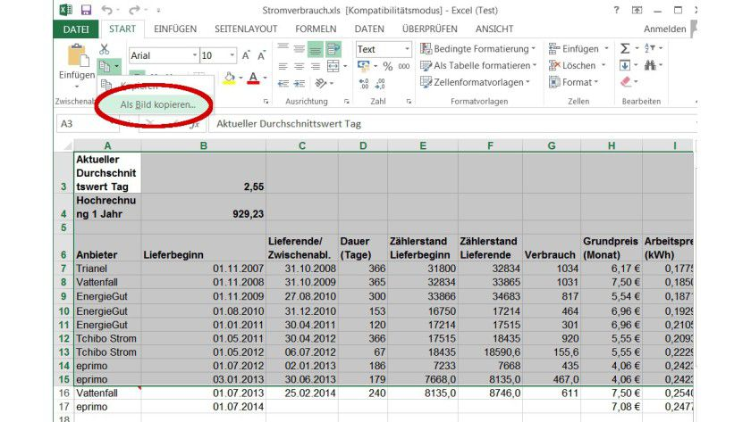 Grafik mit Bordmitteln: Markierte Bereiche einer Excel-Tabelle lassen sich über eine Kopieroption als Bild extrahieren. Die Elemente der Benutzeroberfläche werden im Gegensatz zu einem Screenshot dabei nicht übernommen.