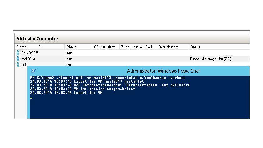 Hyper-V-Sicherung: Mit einem kostenlosen Skript exportieren Sie virtuelle Server in der PowerShell.