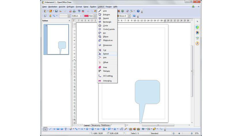 CAD-Zusatz: Nach der Installation von CADLO stehen die erweiterten Funktionen in einem zusätzlichen Menü zur Verfügung.