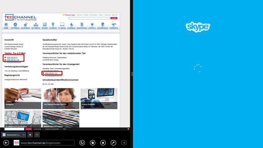 Automatik: Der Internet Explorer 11 erkennt standardmäßig Rufnummern auf einer Website und stellt sie als Links dar. Ein Klick darauf startet das entsprechende Programm, etwa Skype, um einen Anruf zu initiieren.