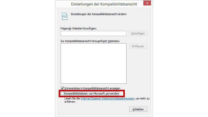 Temporär deaktiviert: Um bestimmte Websites mit dem Internet Explorer wieder korrekt darzustellen, schalten Sie die Kompatibilitätsansicht zunächst ab. Nach einem Browser-Neustart sollte das Problem behoben sein, und Sie können diese Ansicht reaktivieren.