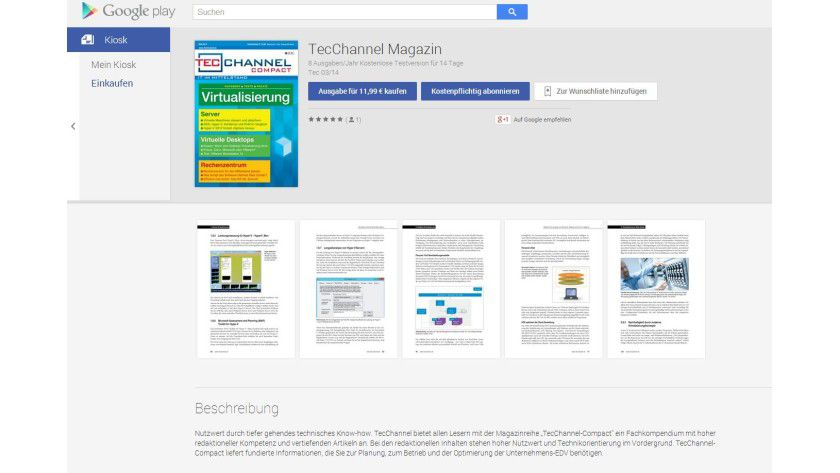 Auch TecChannel ist im Google Play Kiosk - bei Gefallen freuen wir uns über eine positive Bewertung...