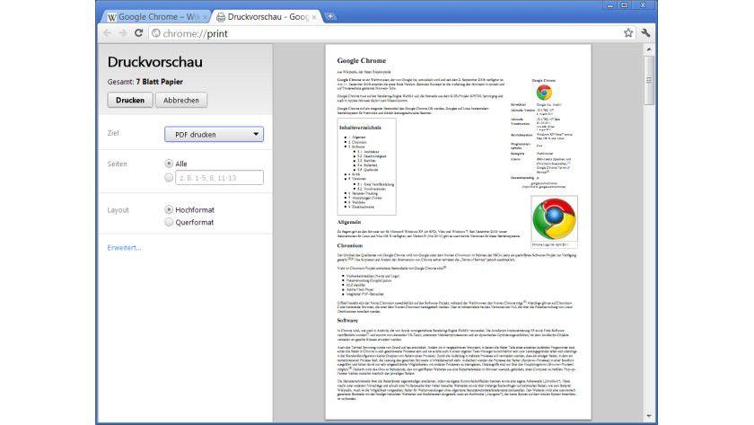 Neu: Chrome 13 erhält eine Druckvorschau.