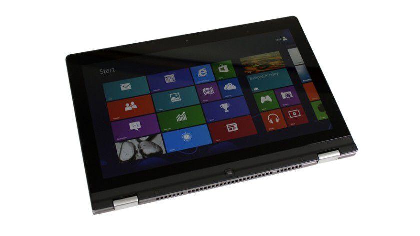 Tablet-Modus: Beim zusammengeklappten Yoga 13 ist die Tastatur nun auf der Rückseite.